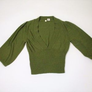 Anthro Moth M Green Crop Deep V Sweater Shirt Top